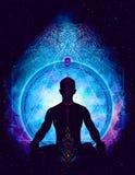 Kosmisk utrymmemeditation för yoga, Royaltyfri Bild