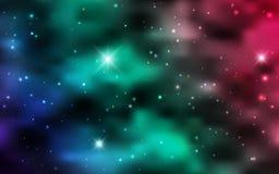 Kosmiska bakgrundsgalaxer, nebulosa och glänsande stjärnor Royaltyfria Bilder