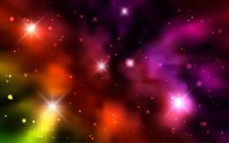 Kosmiska bakgrundsgalaxer, nebulosa och glänsande stjärnor Arkivbild