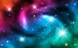 Kosmiska bakgrundsgalaxer, nebulosa och glänsande stjärnor Royaltyfria Foton