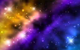 Kosmiska bakgrundsgalaxer, nebulosa och glänsande stjärnor Royaltyfri Foto
