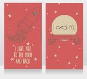 Kosmiska kort för dag för valentin` s Royaltyfria Bilder