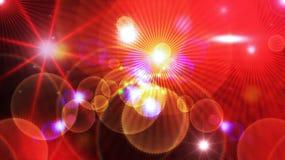 Kosmiska ljus på röd bakgrund Arkivfoto