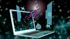 Kosmiska telekommunikationteknologier arkivfilmer