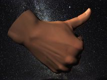 kosmiska tum upp vektor illustrationer