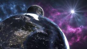 Kosmiskt landskap, härlig sciencetapet med endle stock illustrationer