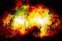Kosmiskt utrymme och stjärnor, färgar kosmisk abstrakt bakgrund Avfyra och knastra effekt Arkivfoto