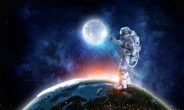 Kosmita i jego misja Mieszani środki Obraz Royalty Free