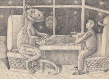 Kosmita i obcego Children rysunek Obrazy Stock