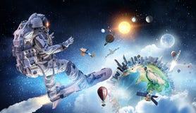 Kosmita na latanie desce Mieszani środki Obraz Stock