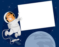 Kosmonaut mit Fahne Stockbilder