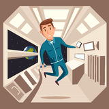 Kosmonaut in nul ernst Vector beeldverhaalillustratie royalty-vrije illustratie