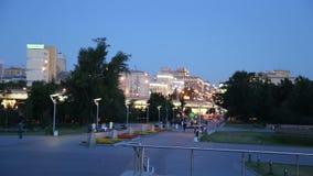 Kosmonauta aleja, Moskwa, Rosja (noc widok) zdjęcie wideo
