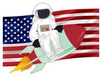 Kosmonauta i flaga ilustracji