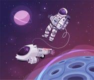 Kosmonautkarakter in kosmische ruimte De vectorillustratie van het beeldverhaal stock illustratie