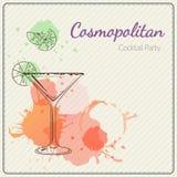 kosmopolit Hand dragen vektorillustration av coctailen färgrik vattenfärg för bakgrund Arkivfoton