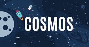 Kosmos-Designhintergrund des Vektors flacher stock abbildung