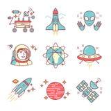 Kosmos eksploracja śpiewa set royalty ilustracja