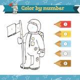 Kosmos-Farbe durch Zahl Vorschule oder Kindergartenarbeitsblatt stockbilder
