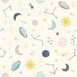 Kosmos Naadloos kinderachtig patroon met zon, maan, planeten en ster stock illustratie