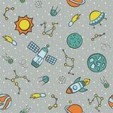 Kosmos Naadloos patroon in krabbel en beeldverhaalstijl vector illustratie