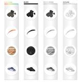 Kosmos, planeten, konstellation och annan rengöringsduksymbol i tecknad film utformar Elkraft lampa, universumsymboler i uppsättn royaltyfri illustrationer