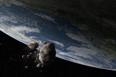Kosmos scena z asteroidy i planety ziemią Zdjęcia Royalty Free
