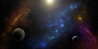 Kosmos, stjärnor, nebulas och planeter Science fictionbakgrund arkivbild