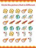 Kosmos-Vorschule oder Kindergartenarbeitsblatt Auch im corel abgehobenen Betrag stockfotos