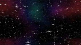 Kosmosanimatie met kleurrijke nevel en vliegende sterren Kosmische ruimte met meteorieten Fantasie geanimeerde abstracte ruimte stock illustratie