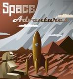 Kosmosbanret med raket- och slogan`-utrymme äventyrar `, också vektor för coreldrawillustration Retro futurism stock illustrationer