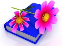 Kosmosblume auf dem Buch Stockfotos