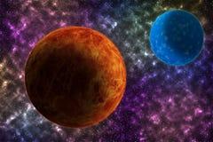 Kosmoso, science fictionbehang De schoonheid van een grote kosmos Stock Afbeeldingen