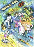 Kosmostekening. Fantasiewereld. Dromenland Royalty-vrije Stock Foto