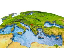 Kosovo auf Modell von Erde Lizenzfreies Stockfoto