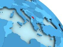 Kosovo on blue globe. Kosovo highlighted on blue 3D model of political globe. 3D illustration Royalty Free Stock Photo