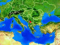 Kosovo on Earth with borders. Kosovo from space on model of planet Earth with country borders and very detailed planet surface. 3D illustration. Elements of this stock photo