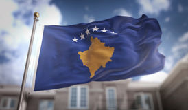Kosovo Flag 3D Rendering on Blue Sky Building Background. Digital Art Royalty Free Stock Images