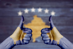Kosovo flag painted on female hands thumbs up Stock Photography
