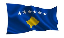 Kosovo flag. A series of `Flags of the world.`  The country - Kosovo Royalty Free Stock Photography