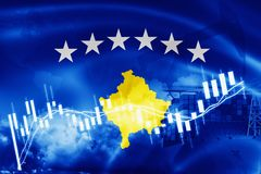 Kosovo flag, stock market, exchange economy and Trade, oil production, container ship in export and import business and logistics. Background, banner, blue vector illustration
