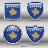Kosovo-Flagge in der Sammlung mit 4 Formen mit Beschneidungspfad Lizenzfreies Stockbild