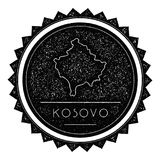 Kosovo Map Label with Retro Vintage Styled Design. Hipster Grungy Kosovo Map Insignia Vector Illustration. Country round sticker Stock Image