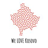 Kosovo Map with red hearts - symbol of love. abstract background. Kosovo Map with red hearts- symbol of love. abstract background with text We Love Kosovo Stock Photo
