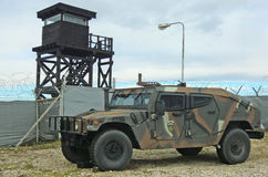 Kosovo NATO base. NATO base in Pristina, Kosovo, headquarters of KFOR, the peacekeeping force present in the Balkans nation since 1999. Photo shows a guard tower stock photography
