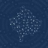 Kosovo network, constellation style country map. Overwhelming space style, modern design. Kosovo network map for infographics or presentation Stock Photos