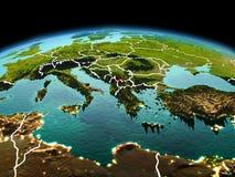 Kosovo op aarde in ruimte Stock Foto's