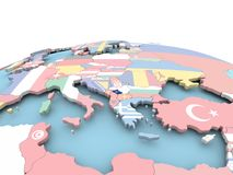 Flag of Kosovo on bright globe. Kosovo on political globe with embedded flags. 3D illustration Royalty Free Stock Photography
