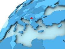 Kosovo on blue globe. Kosovo in red on blue model of political globe. 3D illustration Stock Images