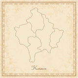 Kosovo region map: stilyzed old pirate parchment. Royalty Free Stock Photography